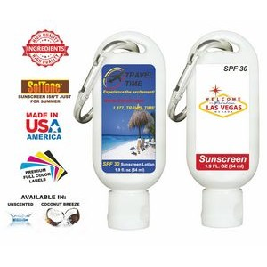 1.9 Oz. Full Color Vanilla Body Lotion Tottle & Carabiner